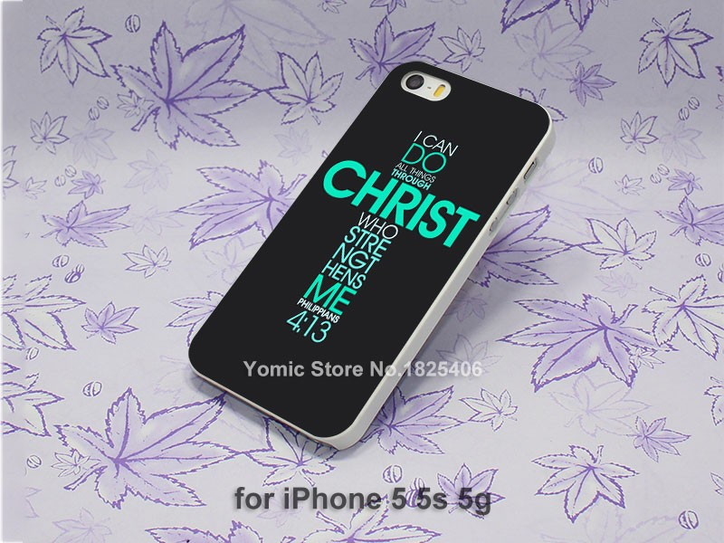 Bible Philippians Jesus Christ Christian Design hard White Skin Case Cover for iPhone 4 4s 4g 5 5s 5c 6 6s 6 Plus