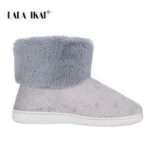 LALA IKAI Kadın Kış Kar Botları Açık kürk Tutmak sıcak ayakkabı Kadın Akın kayma-on Yün Botları Katı günlük çizmeler XWA5993-4(China)