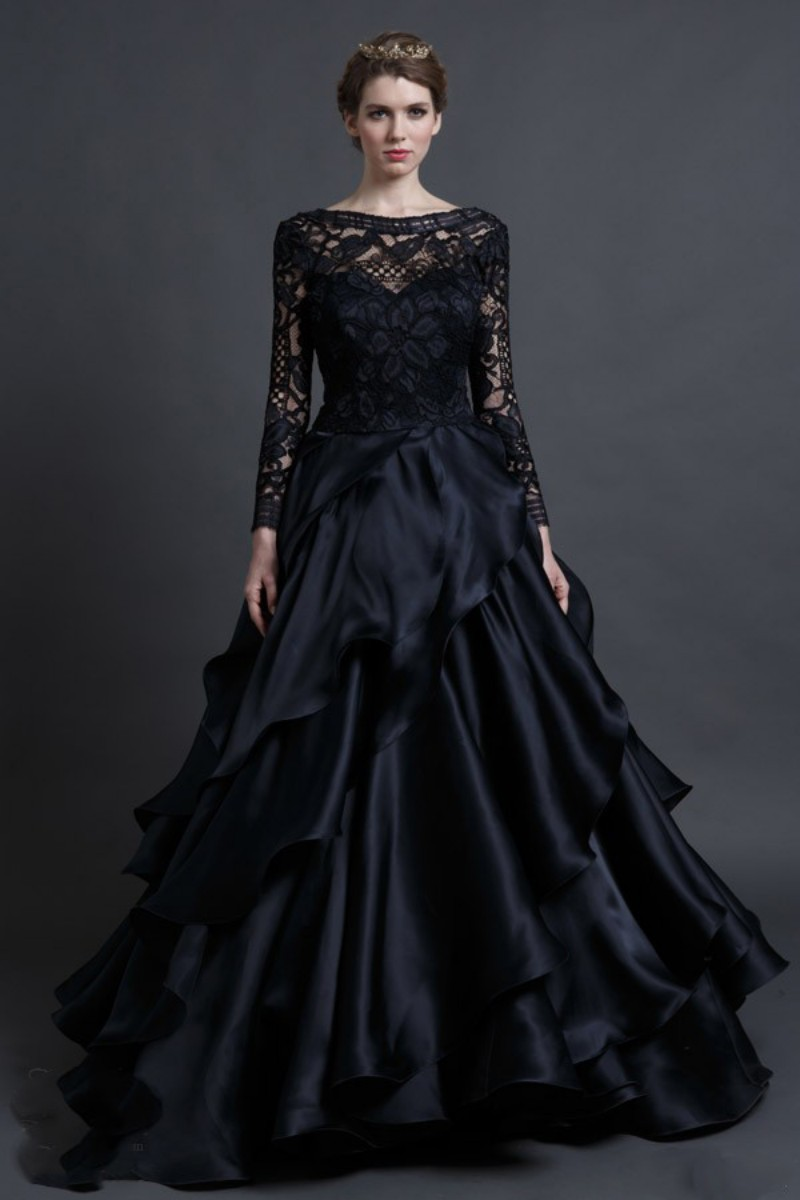 Black Gothic Wedding Dresses Long Sleeve A Line Chiffon Bridal Gowns