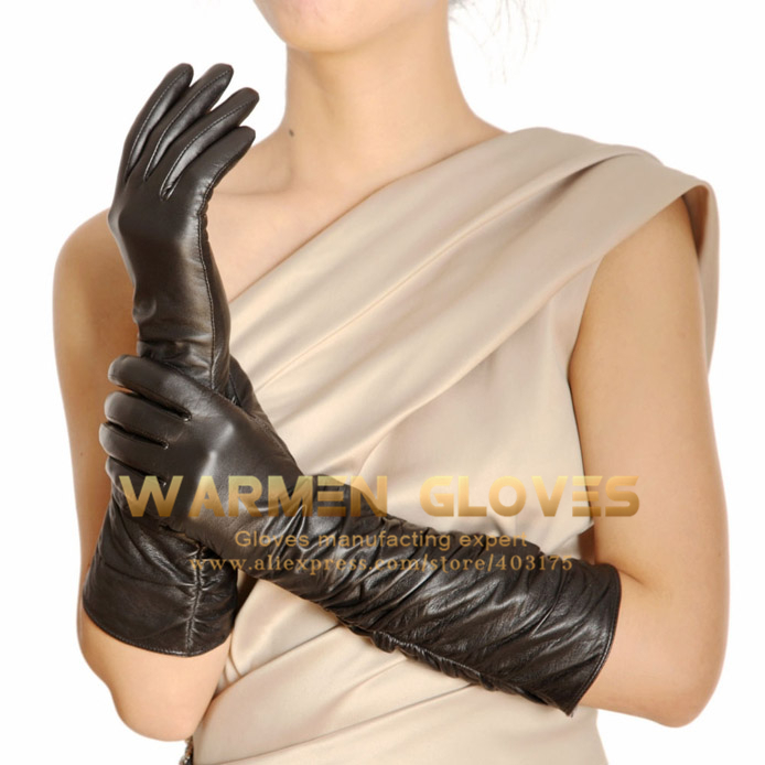 Warmen Winter Fleece Lined Ruched Elbow Length Long Evening Dress Leather Gloves(China (Mainland))