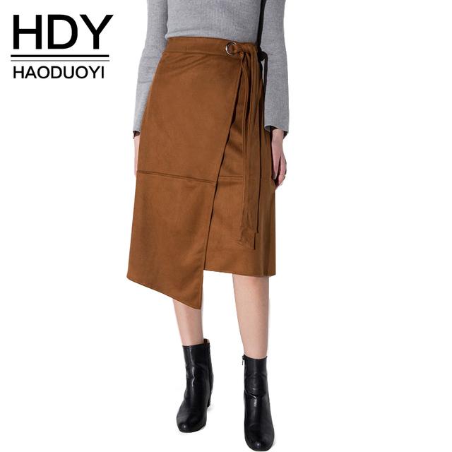 HDY Haoduoyi женщин 2016 Плюс Размер Длиной До Колен Юбка Уличной Моды Стиль Высокой Талией Девушка Midi юбки