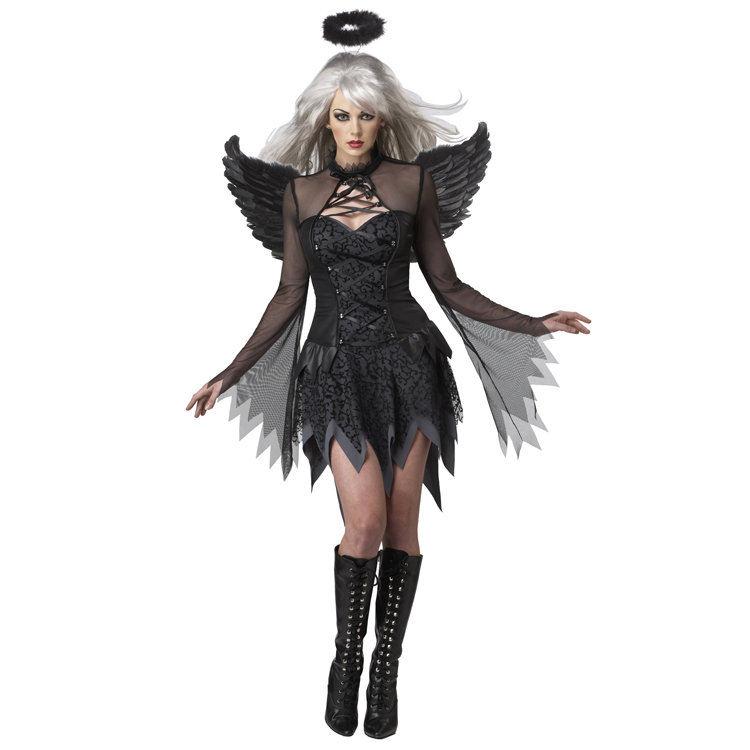 Seductive Fallen Dark Angel Costume Sexy Devil Costume for Women(China (Mainland))