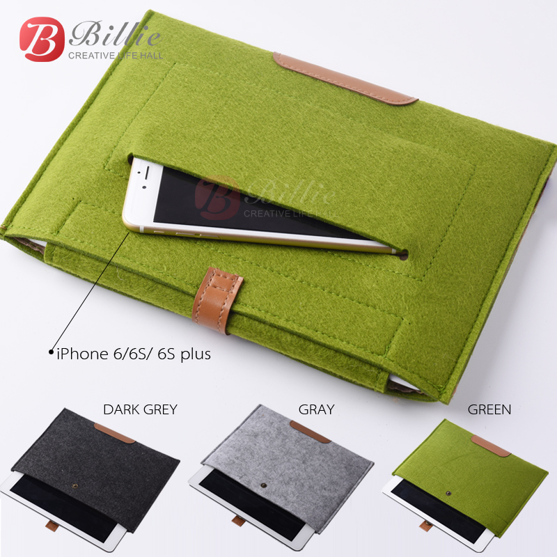New Wool Felt For iPhone 6 iPad 5 liner sleeve, high quality Notebook case For iPad air 5/6 Laptop leather&woolfelt Handy Bag(China (Mainland))
