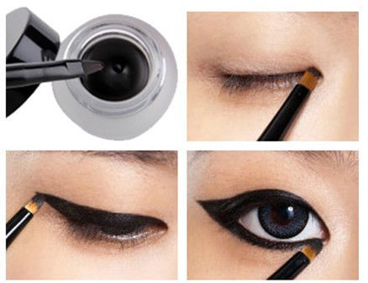 Free Shipping Cosmetic Set Black Liquid Eyeliner Waterproof Eye Liner Pencil Shadow Gel Eyeliner Makeup + Black Brush MK0005(China (Mainland))