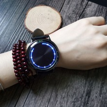 Fashion Leather Band Touch Screen LED Watches For Women/Men with Tree Shaped Dial Blue Light Display Time HB88
