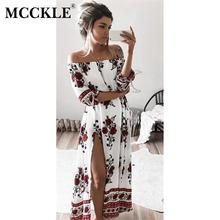 Buy MCCKLE Summer Women Boho Beach Dress Print Slash Neck Shoulder Casual Long Maxi Retro Split beach dress robe longue femme for $11.99 in AliExpress store