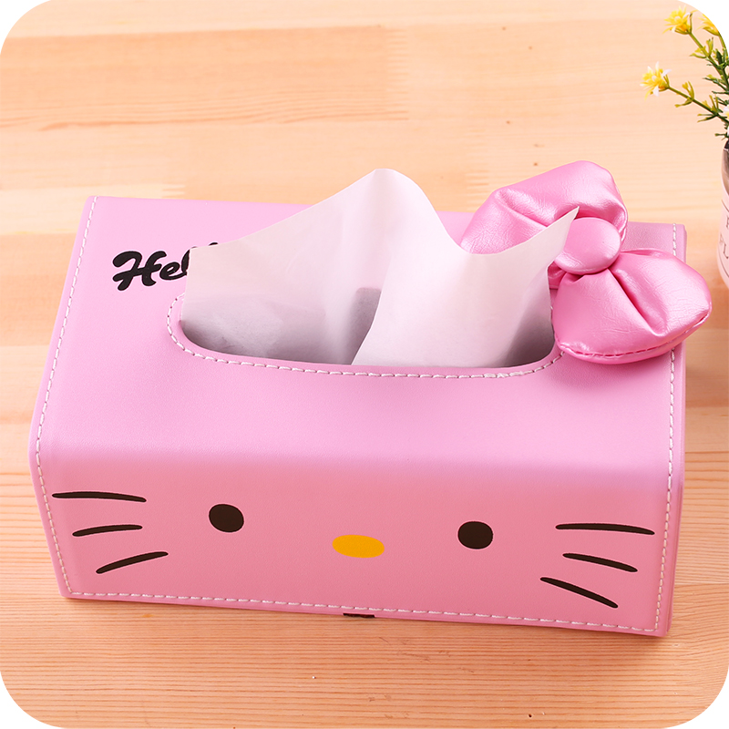 Kawaii Hello Kitty Pink Pu Car Tissue Box Case Holder