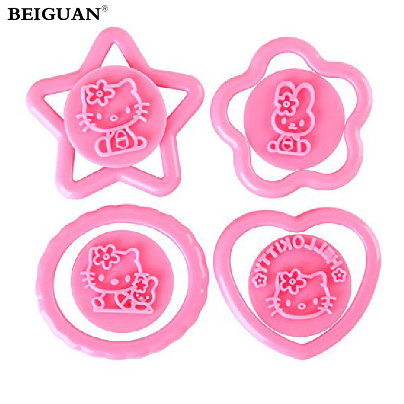 4Pcs Hello Kitty Cake Cutter Fondant Cake cupcake Decorating Sugar craft Plunger Cookie Stamp Embossing Cutter mold(China (Mainland))
