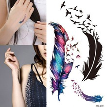 Trendy Waterproof Small Fresh Wild Goose Feather Pattern Tattoo Stickers - Photo Color Charming Body Accessories HB-0250(China (Mainland))