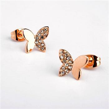 Italina New Elegant Gold Plated Rhinestones Bow Butterfly Stud Earring For Women Dance/Party Accessories(China (Mainland))