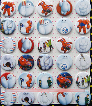 Big Hero 6 4.3 CM 30 pieces/lot set PIN BADGES new Cartoon& animation PIN back BUTTONS PARTY BAG GIFT CLOTH