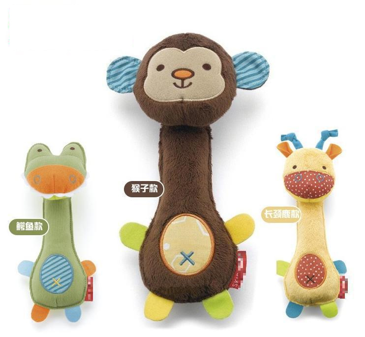 0M+ Soft Animal Baby Toy Ring Bell Baby Rattle Squeaker Rod Cute Cartoon Animal Musical Plush Toys(China (Mainland))
