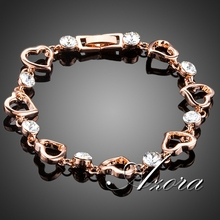 AZORA Romantic Valentine's Day Gift With Rose Gold Plated Clear Stellux Austrian Crystal Heart Bracelet TS0136(China (Mainland))