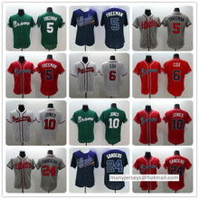 Men 6 Bobby Cox 10 Chipper Jones 24 Deion Sanders Man white gray red blue green top quality Jersey(China (Mainland))