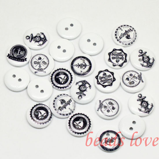 """5Mixed 2 Holes """"anchor"""" Cartoon Wood Sewing Buttons Scrapbooking 15mm Knopf Bouton(w02826) - monstar store"""