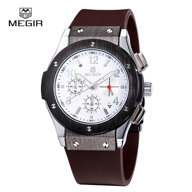 MEGIR Роскошный Военный Дайвер Часы Моды для Мужчин Водонепроницаемый Кварцевые Часы Автоматическая Дата Наручные Часы Relogio мужской 3002 М