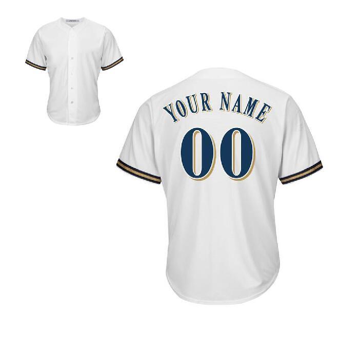 PFFY Men's Custom Milwaukee Jersey Baseball Jersey Sport Jersey Sportswear white(China (Mainland))