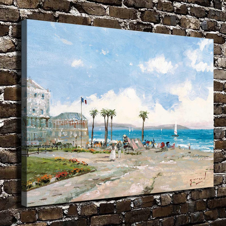 H1057 Thomas Kinkade Morning at Nice Greece, HD Canvas Print Home decoration Living Room Bedroom Wall pictures Art painting(China (Mainland))