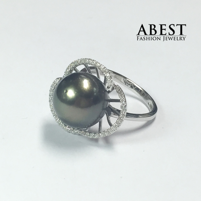 Luxury Silver Ring Set 11.5mm Black Tahitian Pearl Wholesale, Fashion 11.5mm Black Tahitian Pearl Center Silver Ring,<br><br>Aliexpress