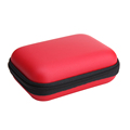 High Quality Red EVA Leather Earphone Cable Bag Mini Zipper Hard Headphone Case Protective Usb Cable
