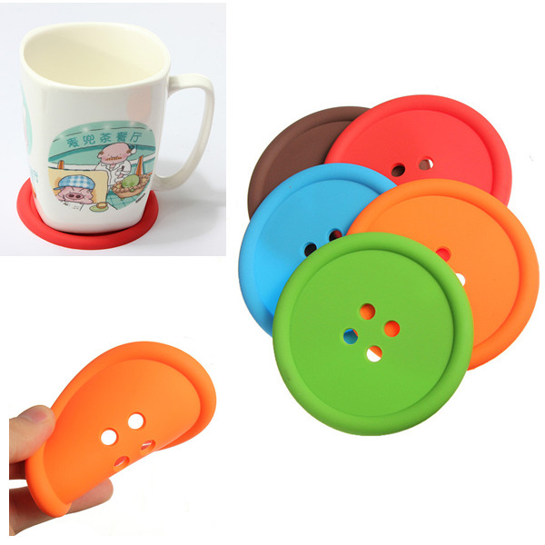 5Pcs/Lot Novelty Colorful Silicone Button Coaster Home Table Decor Tea Drink Placemat Cup Mat Pad Hot Sale(China (Mainland))