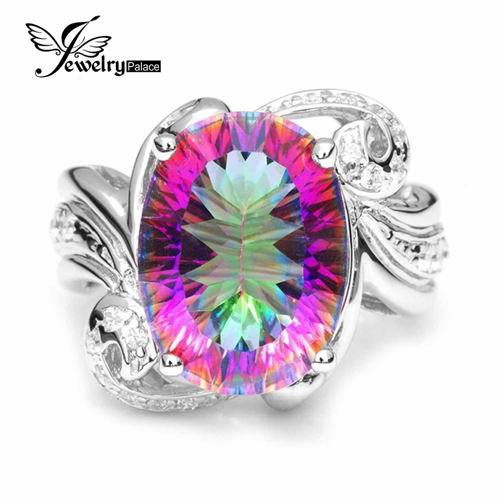 Luxury 11ct Genuine Rainbow Fire Mystic Gem Stone Topaz Ring Pure Solid 925 Sterling Silver Fine Jewelry Vintage Promotion New - Jewelrypalace Feelcolor store
