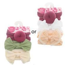 3 unids/set nueva diadema de Nylon sólido para bebés, diademas para cabellos de niños bonitos, turbante para niñas, Diadema de algodón suave para niños(China)