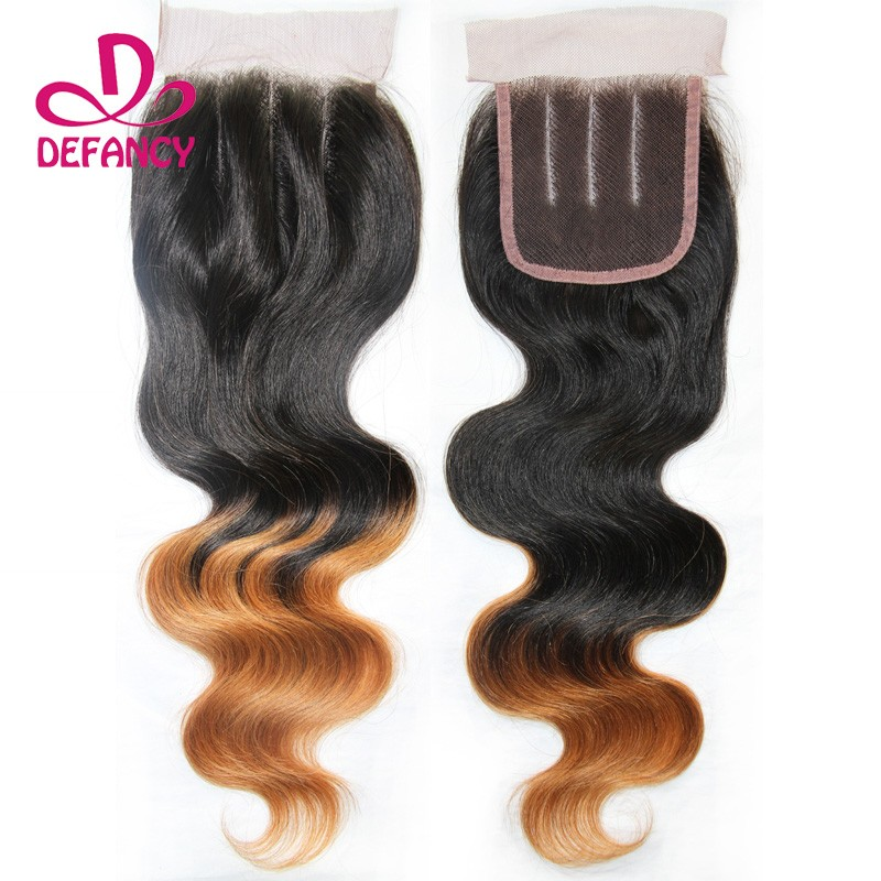 Peruvian Body Wave Closure Ombre Human Hair Closure Top Side Middle Three Free Part Lace Closure Peruvian Virgin Hair Closure(China (Mainland))