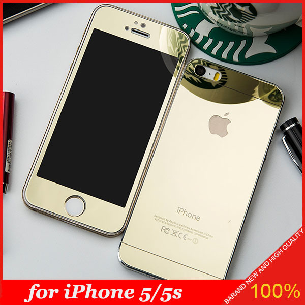 Free Shipping Colored Front and Back Premium Tempered Mirror Glass Screen Protector for iPhone 5/5s(China (Mainland))