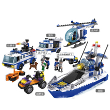 COGO 13918 Police Building Block Sets Teamwork Police Toy Car Helicopter Boat 862pcs Educational DIY Bricks Toys