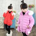 2016 Brand Girl Winter Warm Coat Girl Long Sleeve Fur Hooded Bow Cute Christmas Fashion Winter