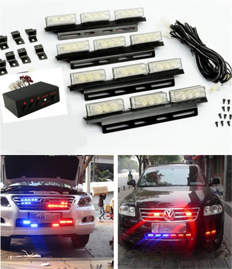 Blue Red Flash Light LED Snow Plow Car Boat Truck Emergency Strobe Light Police Firemen Warning Universal For Audi Car Styling(China (Mainland))