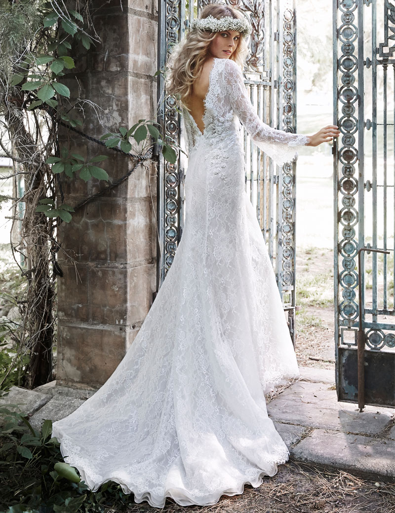 V Neck Wedding Dresses With Sleeves : Sleeves wedding dresses with train mermaid v neck chapel bridal