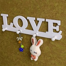 New Arrival High Quality Vintage White LOVE Hook Clothes Robe Key Holder Hat Hanger Wall Home Decoration Beautiful Design(China (Mainland))