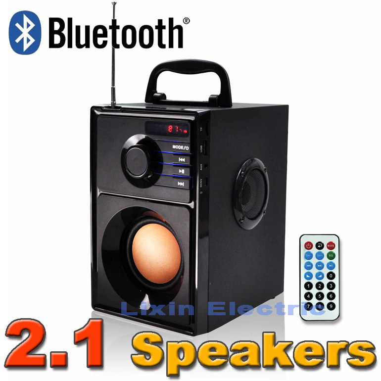 Фотография 2016 New portable stereo Bluetooth speaker 2.1 subwoofer can play TF card and USB and FM radio as well as for family travel