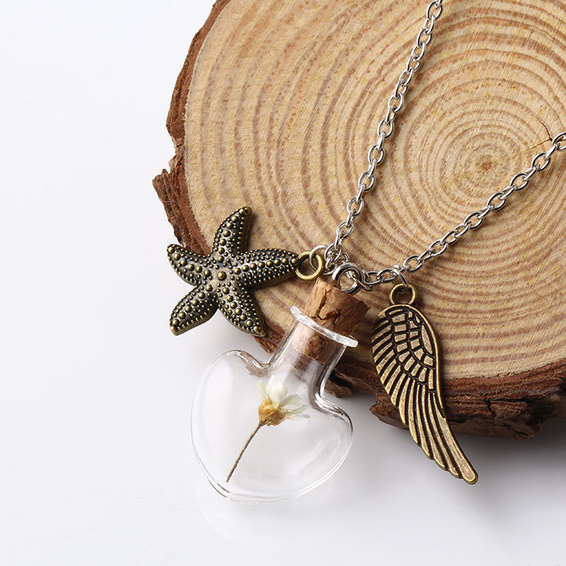 """Freedom"" Glass Bottle Fashion Cinnamon Alloy Feather&Starfish Pendant Necklace Silver Link Chain for Women Fine Jewerly NS2657(China (Mainland))"