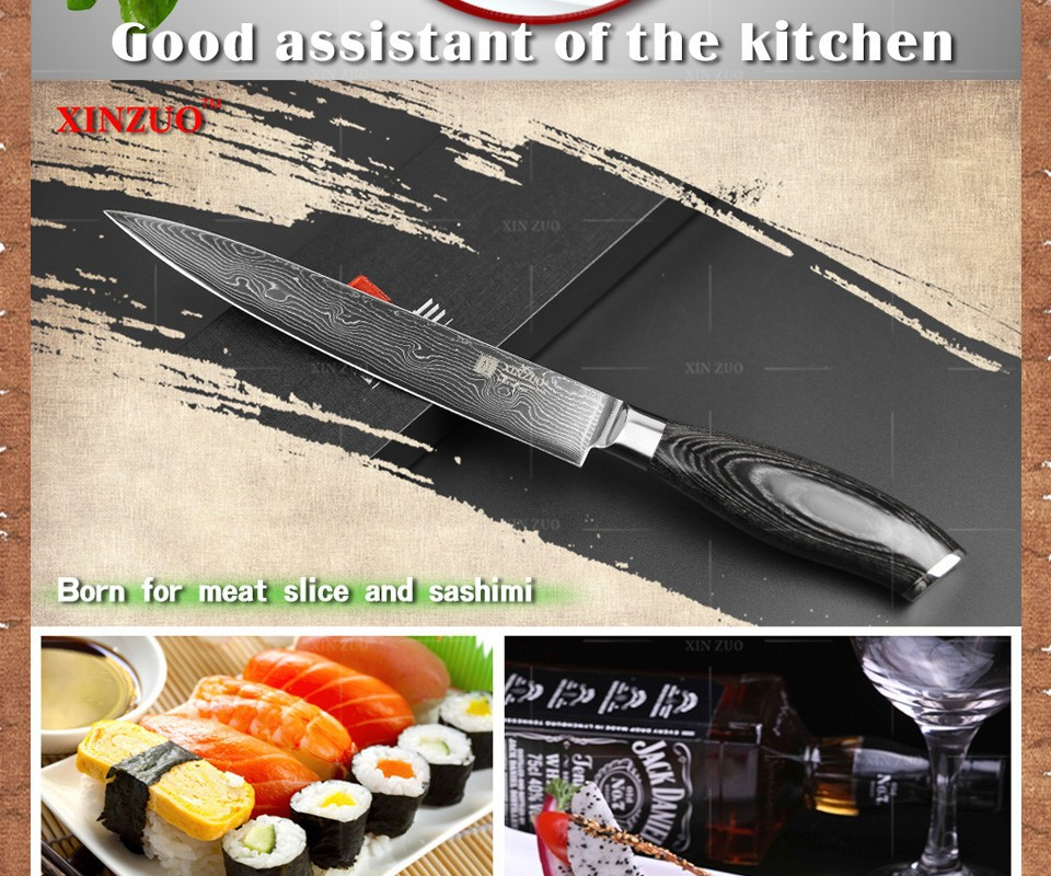 Buy 8 inch cleaver knife Damascus kitchen knife VG10 meat Sashimi chef knife kitchen tool fish knife wood handle free shipping cheap