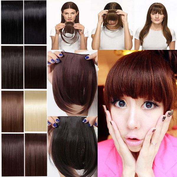 Real thick 30g Natural Bang False Hair Bangs black brown blonde auburn red Clip In on Bangs Synthetic Hair Fringe 11 Colors(China (Mainland))