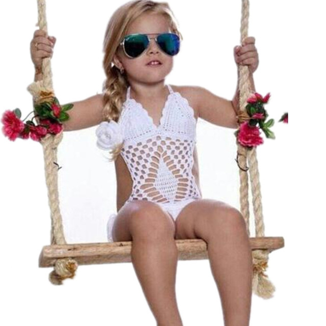 Buy Children White Crochet Swimsuit One Piece Beach Wear Bathing Suit ...