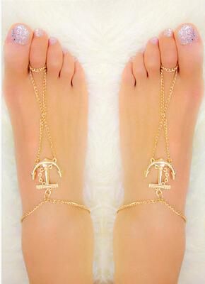 Оптовая продажа девушки женщин якоря пересечь подвески позолоченный ножной браслет ...