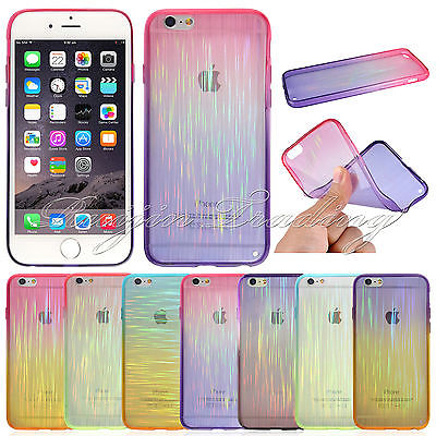 Newest Cool Aurora Clear Slim Gradient Silicone Gel Soft Smart Phone Cases Cover For iPhone 6 4.7'' / iphone 6 Plus 5.5''(China (Mainland))