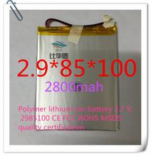 Полимер литиево-ионная аккумулятор 3,7 v, 2985100 CE FCC ROHS сертификацией обращению