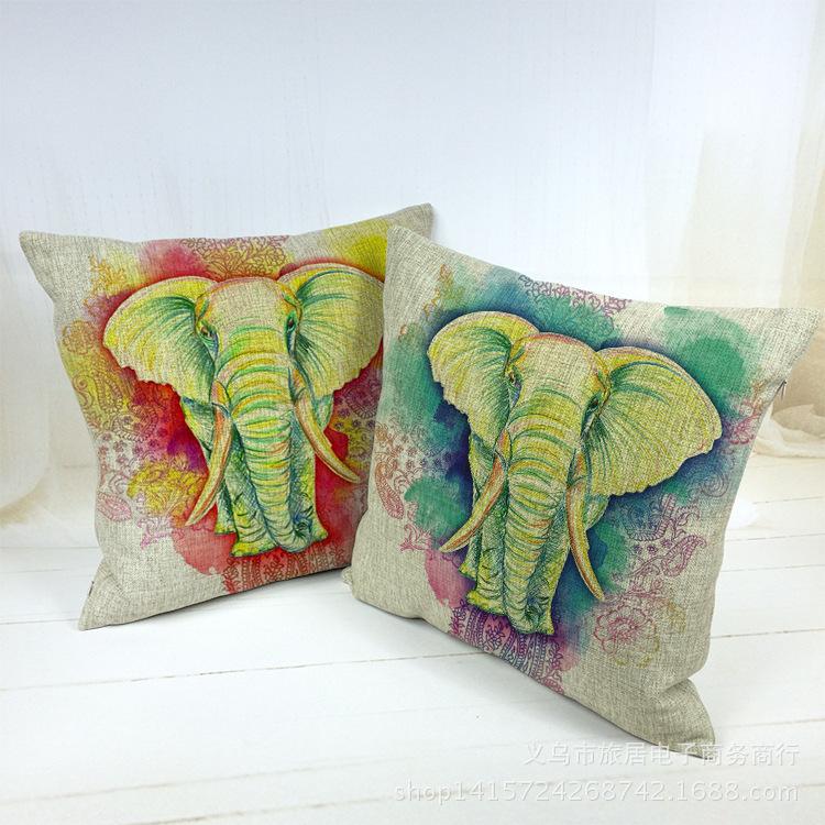 XKM Home Decoration India Elephant Pillow Cover Cushion Covers Car Decor Cotton Linen Sofa/Bed Case 45x45CM - Ke Meng Fine Hand Painted Shoes Shop store