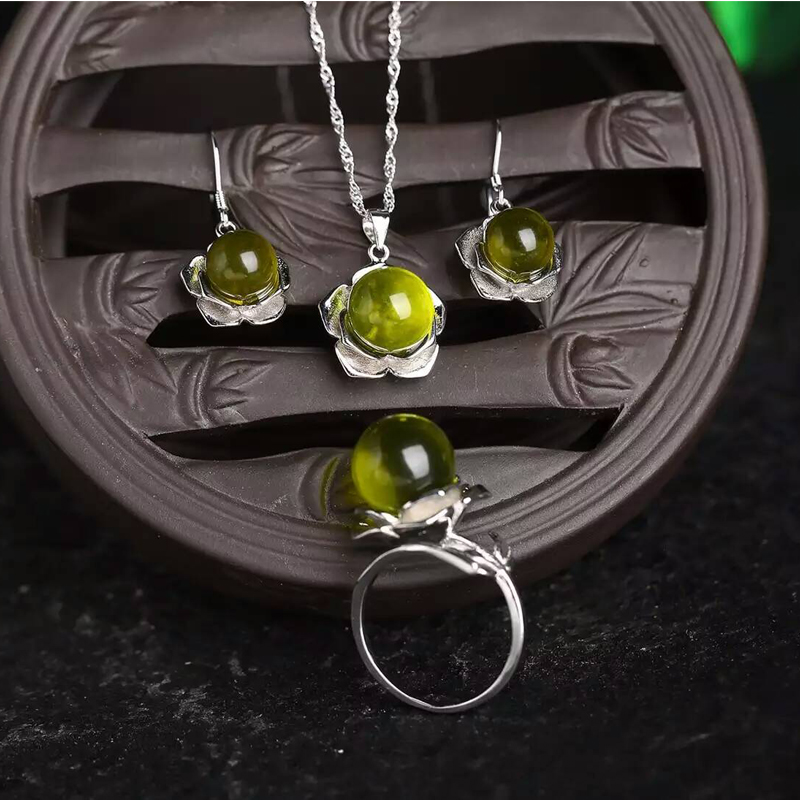 2016 New Nature Resin fossill Blue Amber Jewelry sets classic design women love christmas gift chain
