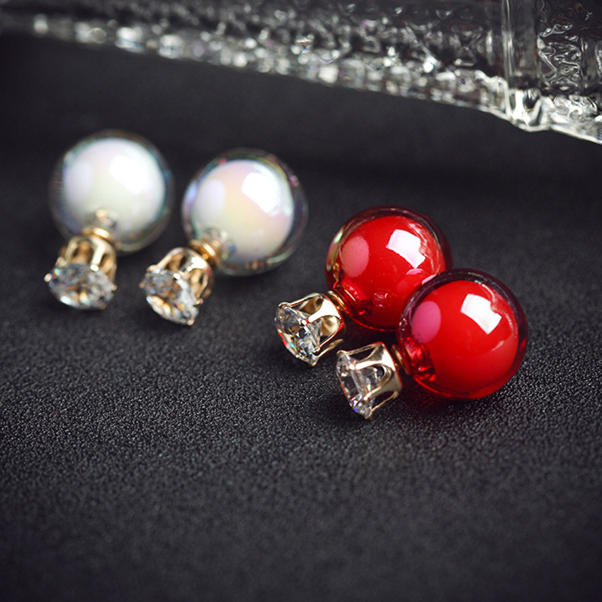 Cute Red Double Beads Stud Earring For Women Female Girls Korean Earing Fashion Jewelry Popular Ball Earrings Brincos 2016 New(China (Mainland))