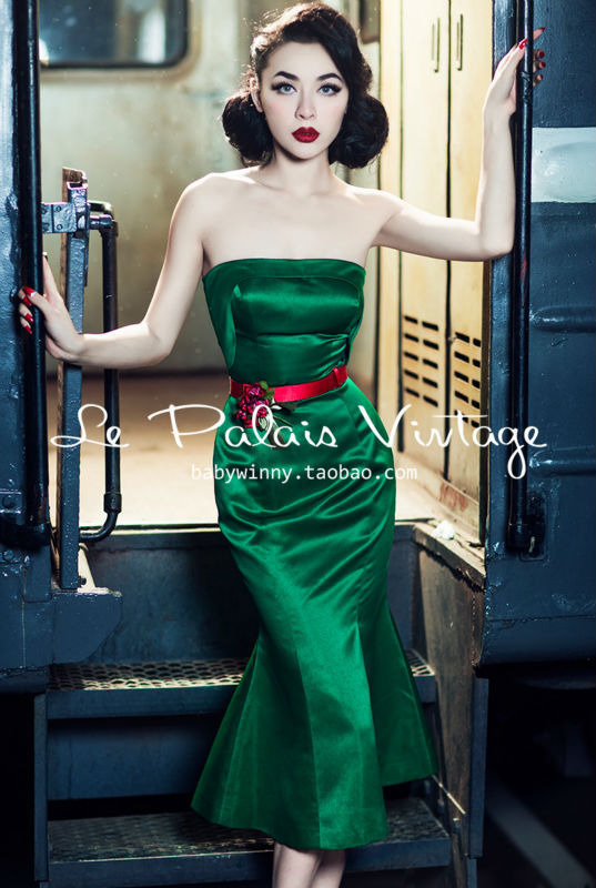 Le Palais Vintage the elegant emerald stereo clipping bra fishtail dress/trumpet/mermaid/bodycon dressОдежда и ак�е��уары<br><br><br>Aliexpress