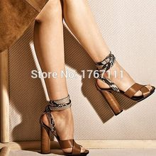 high quality Sexy Women High Heel Sandals Open Toe Buckle Strap Ladies Summer Shoes Snake Skin Leopard Female thick heel sandals(China (Mainland))