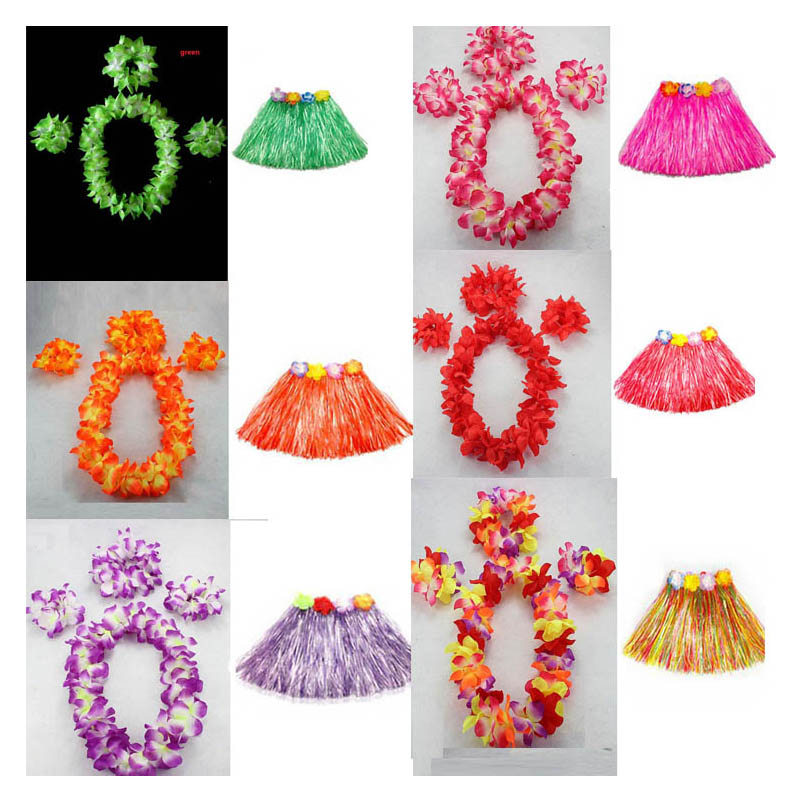 Girls Kids Hawaiian Flower Garland Leis Necklace Lei 30CM Grass Dance Beach Party Wedding(China (Mainland))