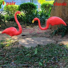 1pair plastic red flamingo garden,yard and lawn art ornament wedding ceremony garden decoration jardin landscape dressing(China (Mainland))
