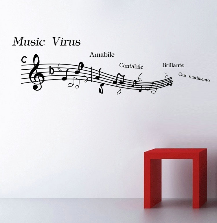 Cantabile Music Note Home Decor Mural Art Wall Sticker